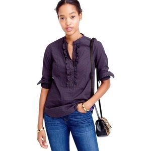 J. Crew Red & Blue Plaid Ruffle Popover Top